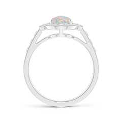 Toggle Oval Opal Halo Ring with Milgrain Detailing