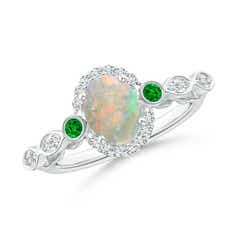 Vintage Oval Opal and Diamond Halo Ring with Bezel Emerald