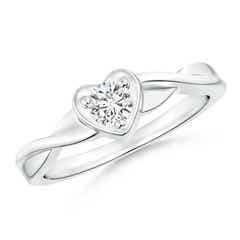 Criss-Cross Solitaire Round Diamond Heart Promise Ring