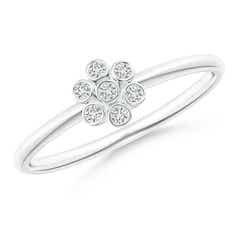 Bezel-Set Round Diamond Dotted Cluster Ring