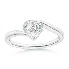 2-Prong Set Solitaire Diamond Swirl Heart Ring