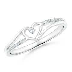 Round Diamond Split Shank Heart Promise Ring