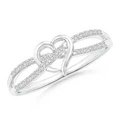 Round Diamond Criss Cross Heart Promise Ring