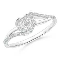 Composite Round Diamond Heart Bypass Ring