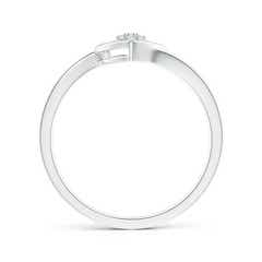 Round Diamond Cluster Heart Bypass Ring