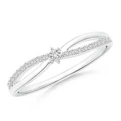 Prong Set Round Diamond Split Shank Promise Ring