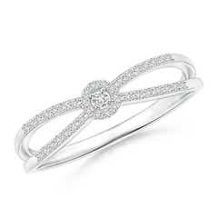 Round Diamond Cluster Split Shank Promise Ring