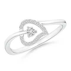 Angara Entwined Double Diamond Bypass Heart Promise Ring KrpzjJCte