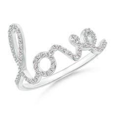 "Prong Set Round Diamond Cursive ""LOVE"" Ring"