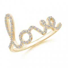 "Prong Set Round Diamond Cursive ""LOVE"" Ring"