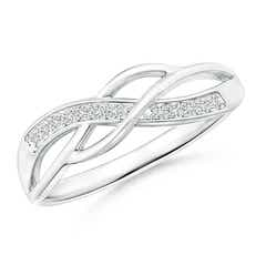 Pave Set Round Diamond Multi-Row Crossover Band