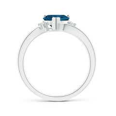 Toggle Solitaire Heart London Blue Topaz Bypass Ring with Diamonds