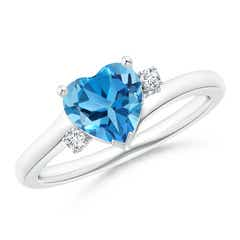 Solitaire Heart Swiss Blue Topaz Bypass Ring with Diamonds