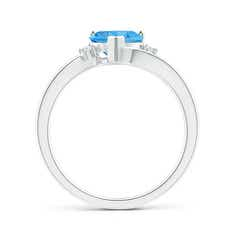 Toggle Solitaire Heart Swiss Blue Topaz Bypass Ring with Diamonds
