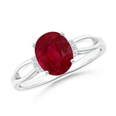 GIA Certified Ruby Split Shank Ring with Diamond Collar