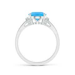 Toggle Solitaire Swiss Blue Topaz Split Shank Ring with Diamonds