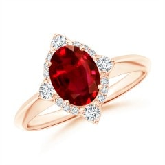 GIA Certified Oval Ruby Compass Ring with Diamond Halo