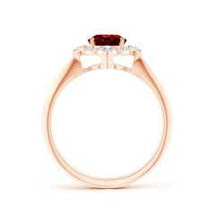 Toggle GIA Certified Oval Ruby Compass Ring with Diamond Halo