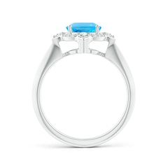 Toggle Oval Swiss Blue Topaz Compass Ring with Diamond Halo
