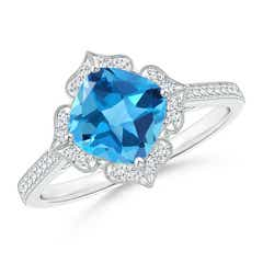 Cushion Swiss Blue Topaz and Diamond Lily Flower Ring