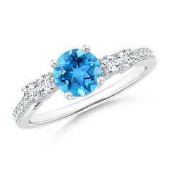 Classic Swiss Blue Topaz Solitaire Ring with Diamond Accents