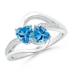 Two Stone Heart Swiss Blue Topaz Bypass Ring with Diamonds