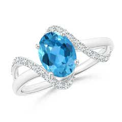 Solitaire Swiss Blue Topaz and Diamond Swirl Bypass Ring