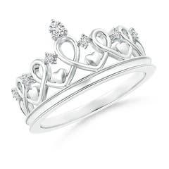 Round Diamond Princess Heart Tiara Ring