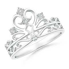 Scattered Round Diamond Princess Tiara Ring
