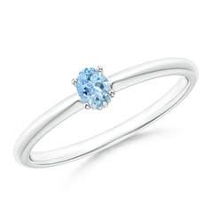 Classic Solitaire Oval Aquamarine Promise Ring