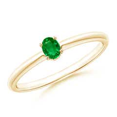 Classic Solitaire Oval Emerald Promise Ring