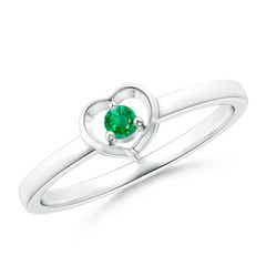 Floating Round Emerald Open Heart Promise Ring