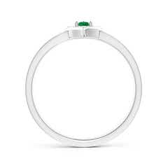 Toggle Floating Round Emerald Open Heart Promise Ring