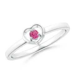 Floating Round Pink Sapphire Open Heart Promise Ring