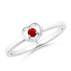 Floating Round Ruby Open Heart Promise Ring