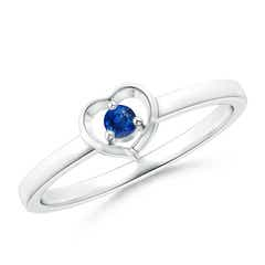Floating Round Blue Sapphire Open Heart Promise Ring