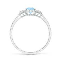 Toggle Oval Aquamarine Solitaire Ring with Diamond Clusters
