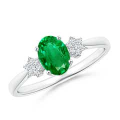 Tapered Oval Emerald Solitaire Ring with Diamond Clusters