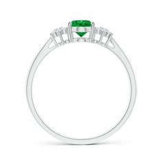 Toggle Oval Emerald Solitaire Ring with Diamond Clusters