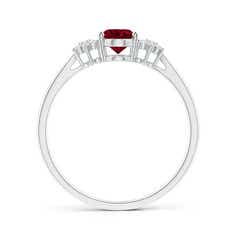 Toggle Oval Garnet Solitaire Ring with Diamond Clusters