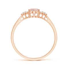 Toggle Oval Morganite Solitaire Ring with Diamond Clusters