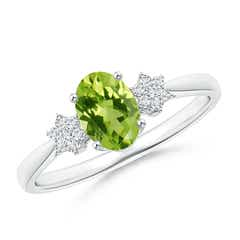 Oval Peridot Solitaire Ring with Diamond Clusters