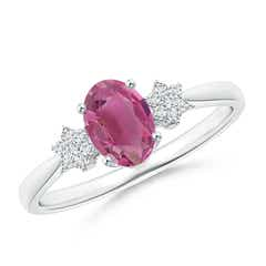 Tapered Oval Pink Tourmaline Solitaire Ring with Diamond Clusters