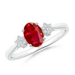 Oval Ruby Solitaire Ring with Diamond Clusters