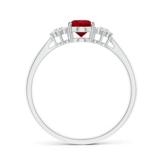 Toggle Oval Ruby Solitaire Ring with Diamond Clusters