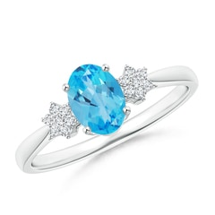 Oval Swiss Blue Topaz Solitaire Ring with Diamond Clusters