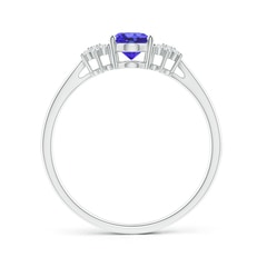 Toggle Oval Tanzanite Solitaire Ring with Diamond Clusters
