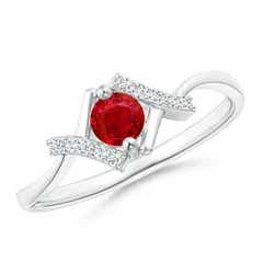 Solitaire Ruby Bypass Promise Ring with Diamond Accents