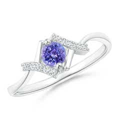 Solitaire Tanzanite Bypass Promise Ring with Diamond Accents