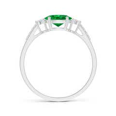 Toggle Horizontally Set Oval Emerald Solitaire Ring with Trio Diamond Accents